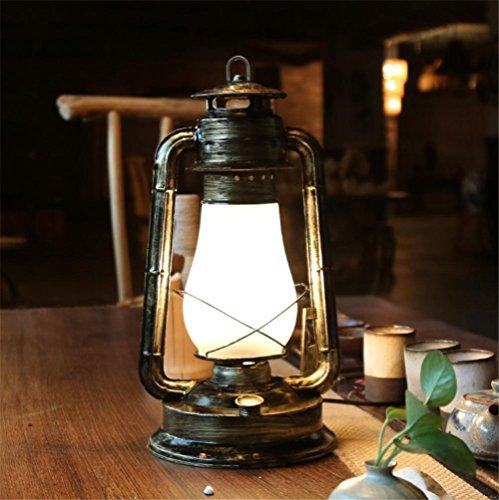 BZJBOY Lampada da Scrivania vecchio stile lampada a cherosene camera da letto lampada da comodino (Vecchio Bronzo 2 Lampadina)