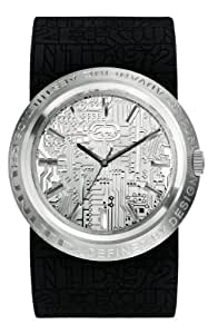 Ecko Unlimited Men's Quartz Watch with Silver Dial Analogue Display and Black Silicone Strap E11534G1