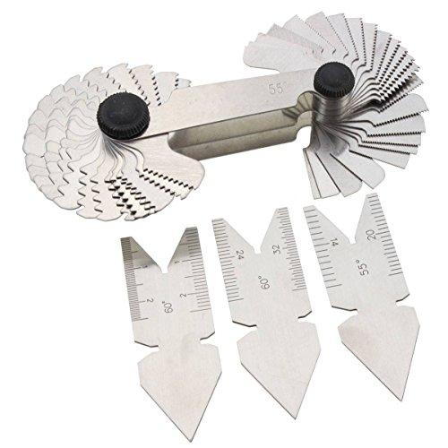 GOCHANGE Portable Screw Thread Pitch Cutting Gauge / Screw pitch Gauge Tool Set / 3PCS Centre Gage 55&60° Inch & Metric Test