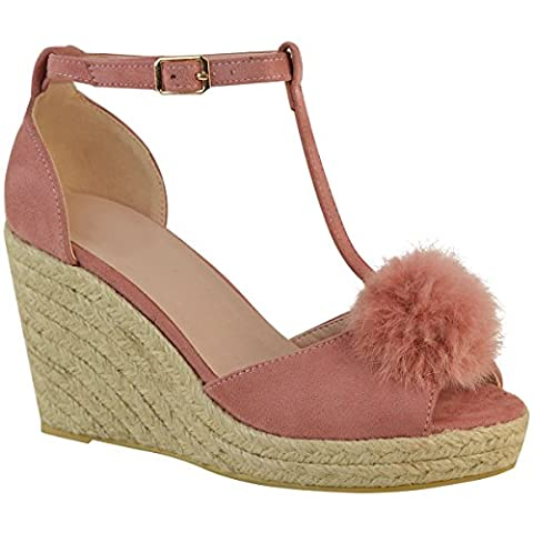 Sandales à talons compensés moyens - style espadrille/bout ouvert/pompon - femme - Faux suède rose pastel/doux/fête - EUR 41