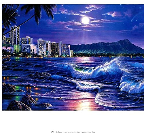 Home Decor Kit (XIGZI Sea Moon Diamant Stickerei Landschaft Voll Runde Diamant Malerei Aufkleber Bild Von Strass Mosaik Kit Decor Home 40X50 cm)