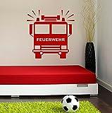 Wandtattoo Feuerwehrauto in ihrer Wunschfarbe Motiv 322, passend in jedes Zimmer (in bester Qualität aus Markenfolie gefertigt)