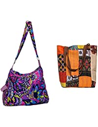 Indistar Combo Pack Of 1 Silk Kantha Tote Bag And 1 Cotton Shopper Bag (Pack Of 2) - B076T8LT7C