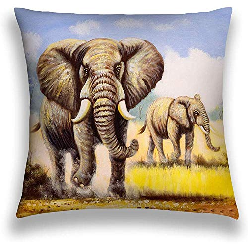 Duang Funda de Almohada Decorativa para el hogar Funda de cojín de poliéster Pintura al óleo Elefante Color 45X45cm
