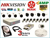 MERSK Hikvision 8 Ch Turbo HD Dvr and Full HD 4MP CCTV Camera Kit with All Required Accessories