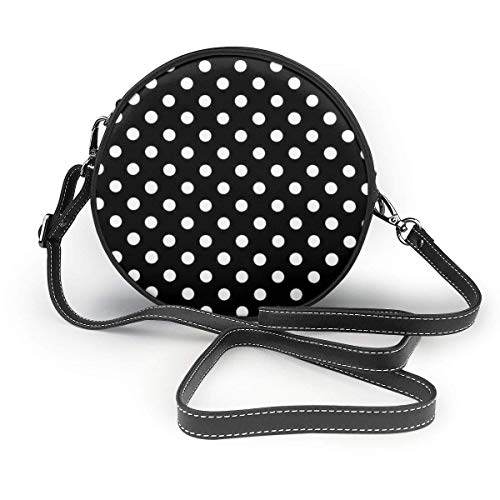 fhjhfgjghfjghfj Black and White Polka Dots Print Round Crossbody Bag Umhängetasches Women Shoulder Bag PU Leather Chain Strap and Top Zipper Small Handbag Round Purse Handle Tote -