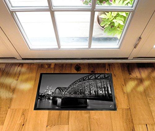 1art1 94496 Köln – Hohenzollernbrücke Und Kölner Dom Bei Nacht S/W Fußmatte Türmatte 60 x 40 cm