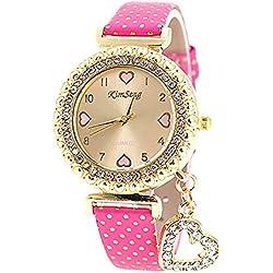 VANKER Cristal Rhinestone de lujo de cuero de imitación Banda Corazón colgante reloj de cuarzo (Color: melocotón)