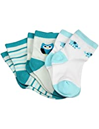 Koly 3 Pack Booties, Calcetines Bebé, Calcetines Niño, color azul (0-1 años)