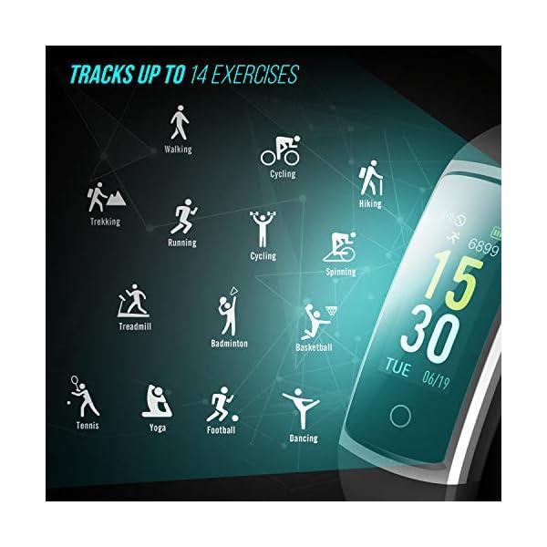 FITFORT Pulsera de Actividad Reloj Inteligente para Hombre y Mujer, IP68 Impermeable Reloj Deportivo con Rtmo Cardíaco, Presión Sanguínea, Sueño Monitor, Contador y Calorías para Android y iOS 4