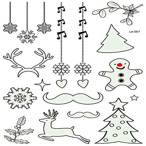 Dewanxin Weihnachten Leuchtende Glühende Tätowierung Aufkleber Glow in The Dark Tattoo Aufkleber Fake Tattoo Aufkleber Perfekt für Geburtstagsfeier Weihnachtsdekoration (A)