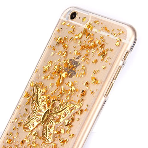 iPhone 6S Silicone Case,iPhone 6 Coque - Felfy Ultra Slim Transparent Flexible Soft Gel Luxe Case Bling Sparking Glitter Diamond Protection Souple TPU Case Cover Coque Etui Housse (or Case or Fleur Si or Case or Papillon