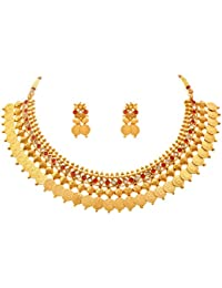Jfl - Jewellery For Less Goddess Laxmi One Gram Gold Plated Coin Necklace Set / Jewellery Set Studded With Red...