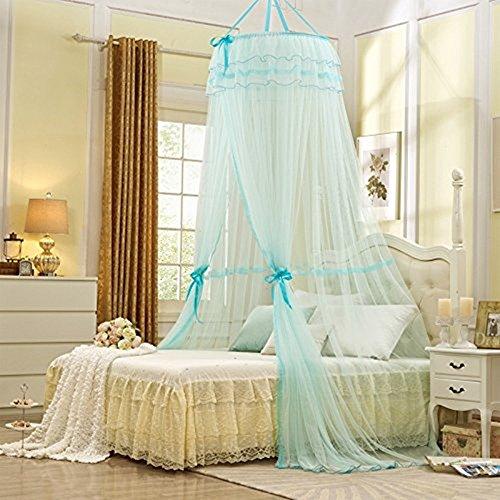 Unimall Kuppel Moskitonetz Mückenschutz Betthimmel Bett Vorhang Baldachinfür Doppelbetten Hellblau (100% Seidenband)