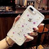Bakicey Coque iPhone 7 Plus, Séchées Vraies Fleurs Housse Transparent Gel Silicone Case Créatif Pétales éternelle Bumper Anti-Rayures Cover Étui pour iPhone 8 Plus (iPhone 7/8, C Fleur Mauve)
