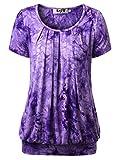 DJT Damen Casual Falten Kurzarm T-Shirt mit Stretch Rundkragen Lila M