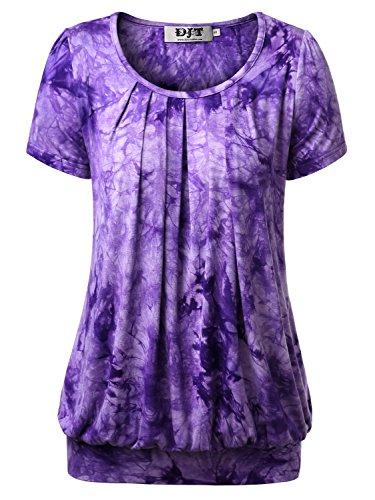 DJT Damen Casual Falten Kurzarm T-Shirt Kurzarmshirt Rundhals Stretch Tunika Tie Dye Lila XL - Lila Tie-dye-t-shirt