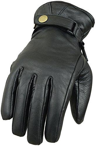 Classic echtes Leder Motorrad Handschuhe, Schwarz Echt-leder-handschuh, Handschuhe