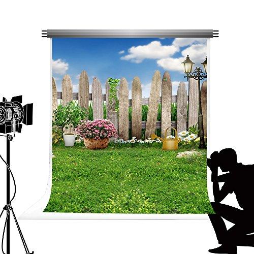 Kate grün Gras Foto Hintergrund Blumen Zaun Hintergrund für Spring Studio Fotografie 5 x 7ft/1,5 x 2.2 m