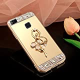 Coque Huawei P9 Lite, Miroir Housse Coque Silicone TPU pour Huawei P9 Lite, Surakey [Ballerine fille 360 Rotation Bague bâton support] Elegant Cool Bling Briller étincellement Coloré Diamond Rose Or Coque Effet Miroir Etui TPU Téléphone Coque Coquille de protection Flex Soft Gel en Caoutchouc Bumper Shockproof Anti Scratch Housse Rigid Back Cover pour Huawei P9 Lite, Or