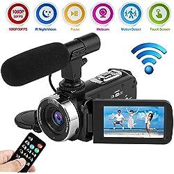 Videocamara Cámara de Video Full HD 1080P 30FPS WiFi Digital Cámara de Visión Nocturna por Infrarrojos de 24.0MP Videocámara con Micrófono