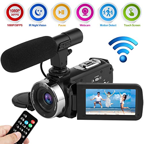Videokamera Camcorder Full HD 1080P 30FPS WiFi Digitalkamera 24.0MP IR Nachtsicht Vlogging Kamera mit Mikrofon - Camcorder Kamera