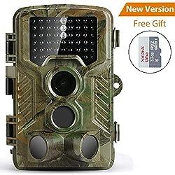 Caméra de Chasse Coolife Caméra de Surveillance Étanche 49 LEDs 16MP 1080P HD 25m Grand Angle 125 ° De Vision Nocturne Traque IR Caméra de Jeu Nocturne Infrarouge