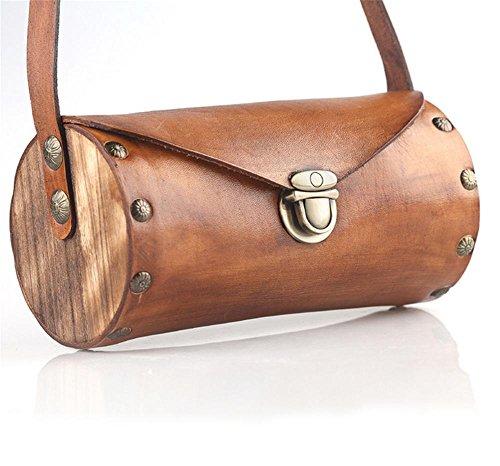 YANX Signora Fashion Wood signore borsa di pelle di mucca borsetta tracolla Tote (20,5 * 10 * 10 cm) , yellow