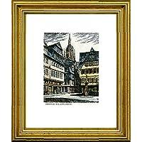 R/ömer von Peters im Rahmen Goldkehle kein Leinwandbild kein Kunstdruck Kunstverlag Christoph Falk Handkolorierte original Radierung Frankfurt Graphik