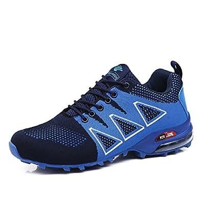 LILY999 Herren Wanderschuhe Trekking Schuhe Rutschfeste Atmungsaktive Traillaufschuhe Leichte Bequeme Laufschuhe(Blau,Größe 42)