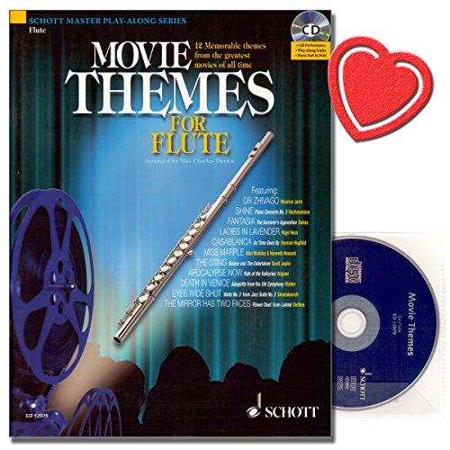 Movie Themes for Flute - 12 unvergessliche Melodien aus den größten Filmen aller Zeiten - Flöte Noten mit CD und mit herzförmiger Notenklammer -