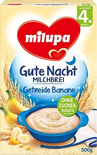 Milupa Gute Nacht Milchbrei Getreide Banane nach dem 4. Monat, 4er Pack (4 x 500 g)
