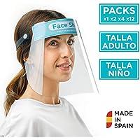 Pantalla Protección Facial Sonaprotec - Protector Facial Antivaho. Talla Niños y Adultos. Visera Protectora para la Cara Face Shield Fabricadas en España (Packs de 1, 2, 4 y 12)