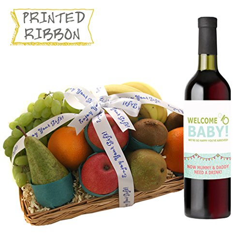 Food and Wine Hamper - New Parent Fruit Basket with Wine Available for Next Day Delivery Ideal for New Parent Gifts with Bespoke Welcome Baby Wine Label
