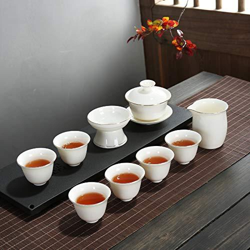 Teetasse Kung Fu Teeservice Merrill Lynch Jade Exquisit Nach Hause Geschmack Glatt Und Schlicht Großzügig Keramik Business Geschenk Deckel Schüssel, Trompete Tasse Gold -3