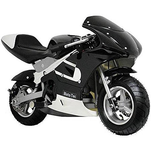 MotoTec Gas Pocket Bike Motorcycle -Black - Non CA compliant by MotoTec