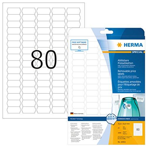 Herma 10002 Preisetiketten Wellenrand ablösbar (35,6 x 16,9 mm, DIN A4 Papier) 2.000 Preisschilder auf 25 Blatt, weiß, bedruckbar, selbstklebend