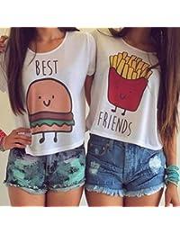 QHGstore Camiseta de impresión divertida Camisetas de algodón de las mejores amigas camisetas Tops camiseta de