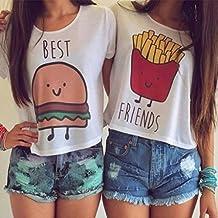 QHGstore Camiseta de impresión divertida Camisetas de algodón de las mejores amigas camisetas Tops camiseta de manga corta NO.1 S