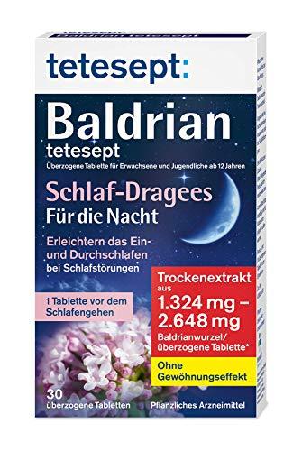 tetesept Baldrian - überzogene Tablette, Schlaf-Dragees für die Nacht - 5er Pack (5 x 30 Stück)