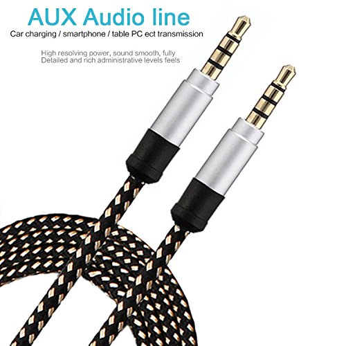 GKP PRODUCTS Nylon Braided Premium 3.5mm Aux Audio Cable for Car (Multicolored) Model 201124