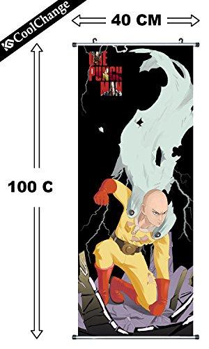 CoolChange poster enroulable / Kakemono en tissu de One Punch Man, 100x40cm, Thème: Saitama