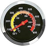 Denmay 01T08 - Termometro per barbecue da esterni, in acciaio INOX, diametro 6 cm