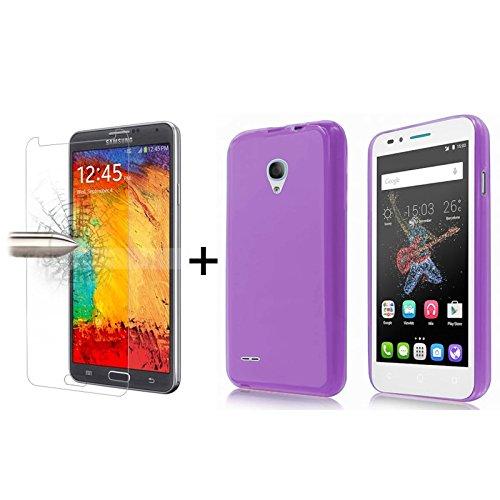 TBOC Pack: Lila Gel TPU Hülle + Hartglas Schutzfolie für Alcatel One Touch Go Play (5.0 Zoll) - Ultradünn Flexibel Silikonhülle. Panzerglas Displayschutz in Kristallklar in Premium Qualität.