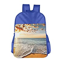 Wave Coming to Shore Beach School Backpack Children Shoulder Daypack Kid Lunch Tote Bags RoyalBlue