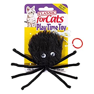 Classic Pet Products Furry Spider Cat Toy, Black 7