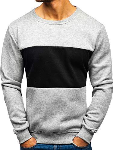 BOLF Herren Sweatshirt ohne Kapuze Aufdruck Rundhalsausschnitt Sportlicher Stil J.Style TX23 Grau XL [1A1]