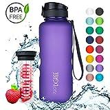 720°DGREE Trinkflasche uberBottle - 1,5 Liter, 1500ml, Lila, Violett | Neuartige Tritan Wasser-Flasche | Water Bottle BPA Frei | Ideale Sportflasche für Kinder, Fitness, Fahrrad, Sport, Fussball