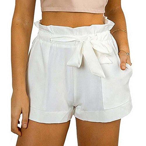 Minetom donna estivi casual design moda caldi sciolto pantaloncini scarsità a alto vita shorts con cintura spiaggia bianca eu s