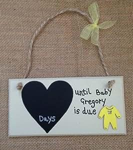 Compte à rebours pour bébé personnalisée Plaque de grossesse Jaune Grow'Panneau de bébé Cadeau de Baby Shower